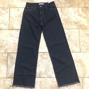 Zara Basic Z1975 Denim wide leg frayed hem size 38